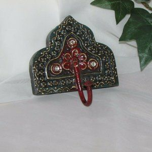 WALL MOUNTED SINGLE COAT HOOK HAND CRAFTED PAINTED